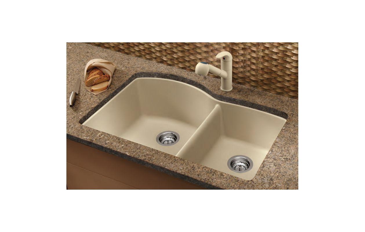 Blanco Granite Kitchen Sink Blanco 441222 Biscotti Diamond 32 Double Basin Undermount