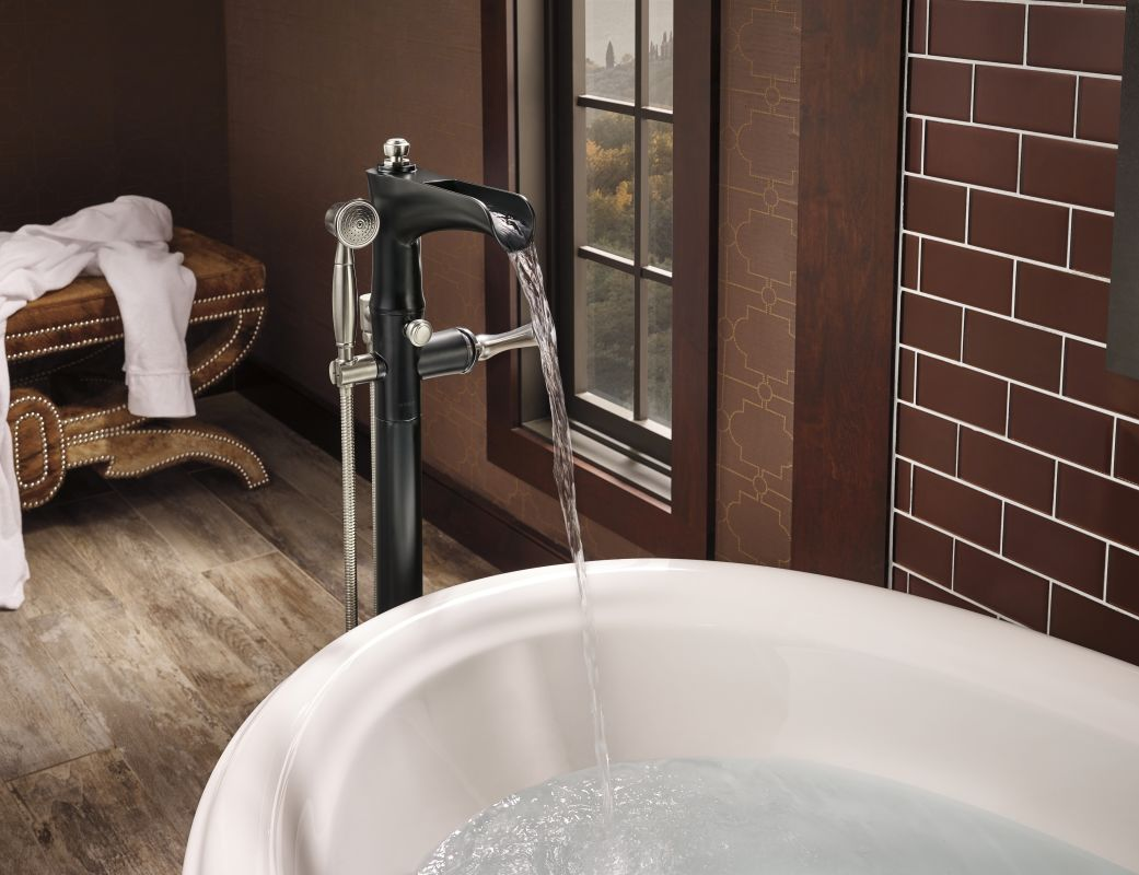 Brizo T70161 Pc Chrome Rook Floor Mounted Tub Filler With And Personal Handshower Built In Diverter Less Valve Faucet