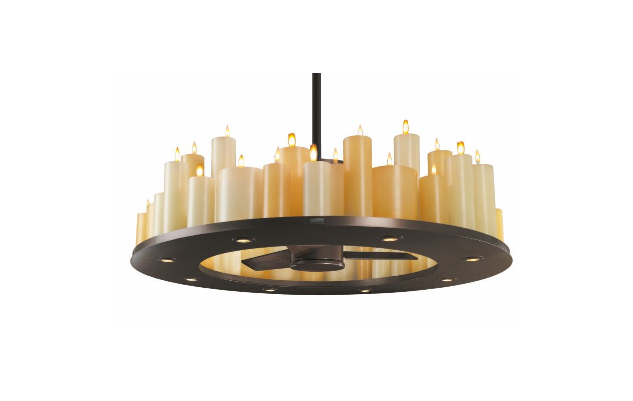 casablanca c16g73t oil rubbed bronze candle lit chandelier ceiling fan combo with real wax candles and flickering bulbs