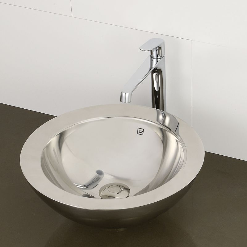 Decolav 1228 B Brushed Stainless Steel Simin 15 1 2 Vessel Bathroom Sink Faucet Com