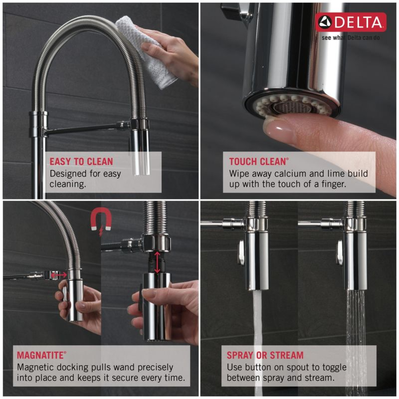 Delta 9659-KS-DST Black Stainless Trinsic Pro Pre-Rinse Pull-Down Kitchen  Faucet with Magnetic Docking Spray Head - Limited Lifetime Warranty -  Faucet.com