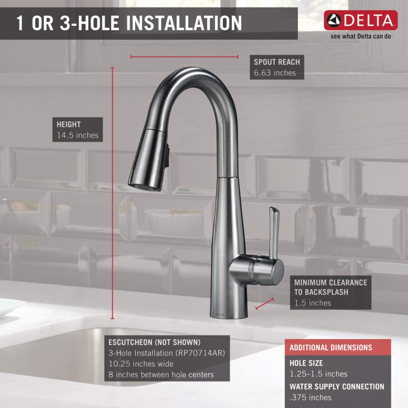 Delta 9913 Ar Dst Arctic Stainless Essa Pull Down Bar Prep Faucet