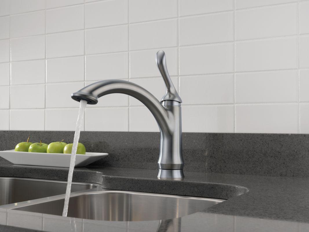 Delta 1353 DST Chrome Linden Kitchen Faucet With Optional Base Plate    Includes Lifetime Warranty   Faucet.com