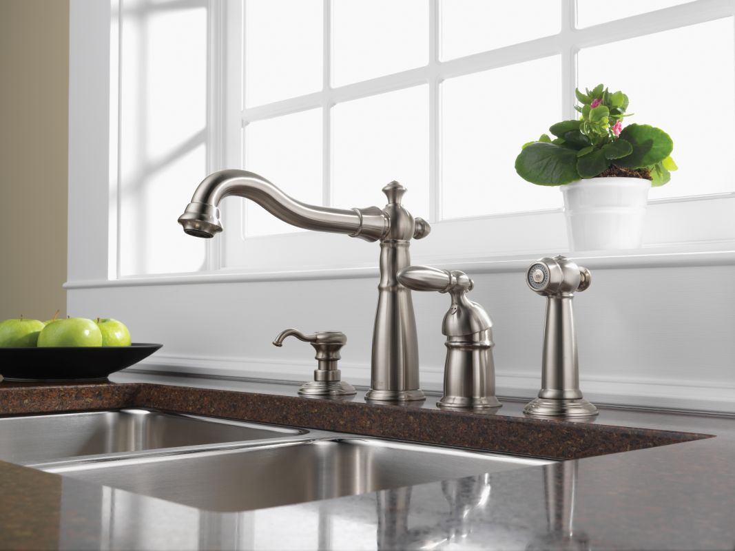 Delta RBDST Venetian Bronze Victorian Kitchen Faucet With Side - Delta victorian kitchen faucet