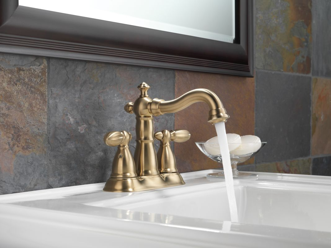 Delta 2555 Ssmpu Dst Brilliance Stainless Victorian Centerset Bathroom Faucet With Pop Up Drain Embly Includes Lifetime Warranty