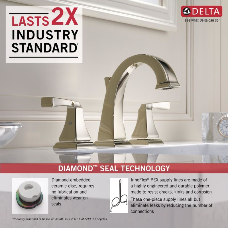 Delta 3551LF-PN Brilliance Polished Nickel Dryden Widespread ...