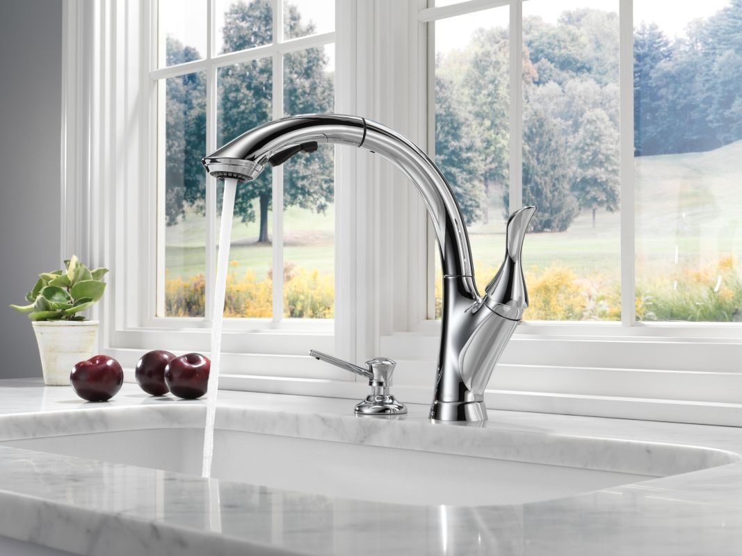 Delta 4153-AR-DST Arctic Stainless Linden Pull-Out Kitchen Faucet ...