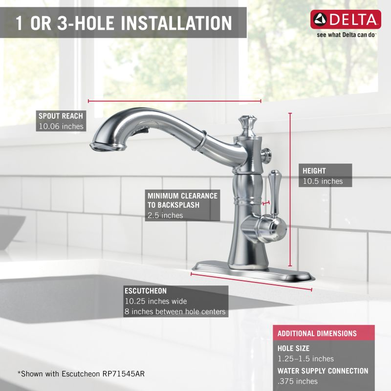 Delta 4197-AR-DST Arctic Stainless Cassidy Pull-Out Kitchen Faucet ...