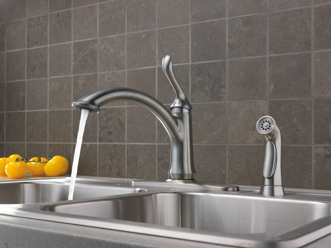 in handle spray chrome deck menards kitchen faucet delta image of single faucets linden touch