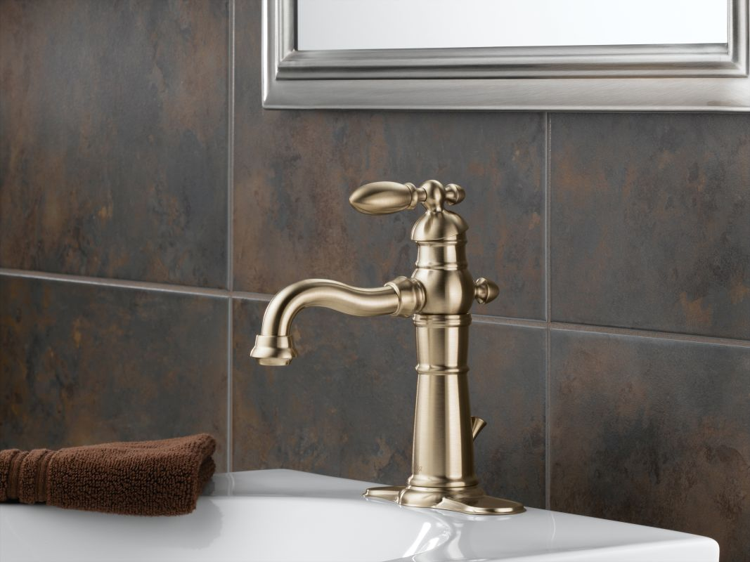 Delta 555LF-CZ Champagne Bronze Victorian Single Hole Bathroom Faucet with Pop-Up Drain Assembly and Optional Base Plate - Includes Lifetime Warranty ...