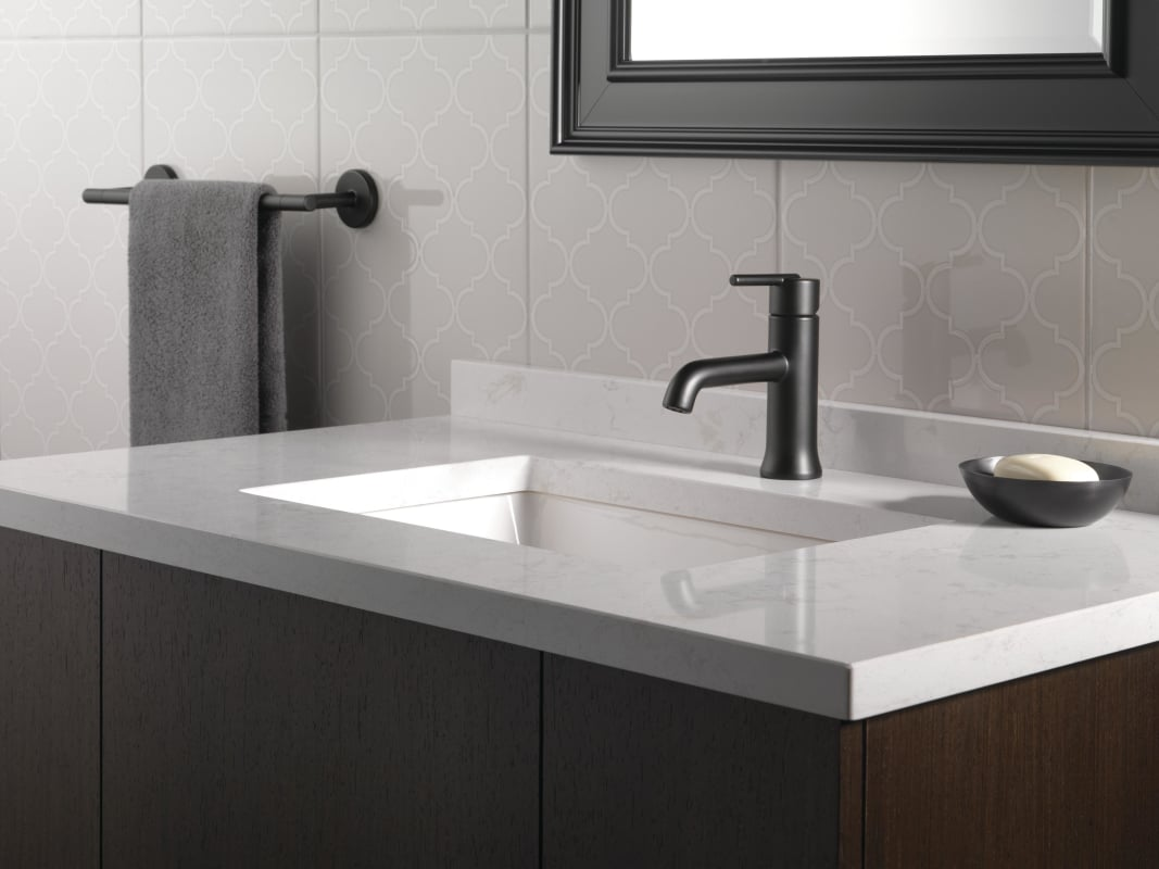 Delta 559lf Bllpu Matte Black Trinsic Single Hole Bathroom Faucet With Option Base Plate Less Drain Embly