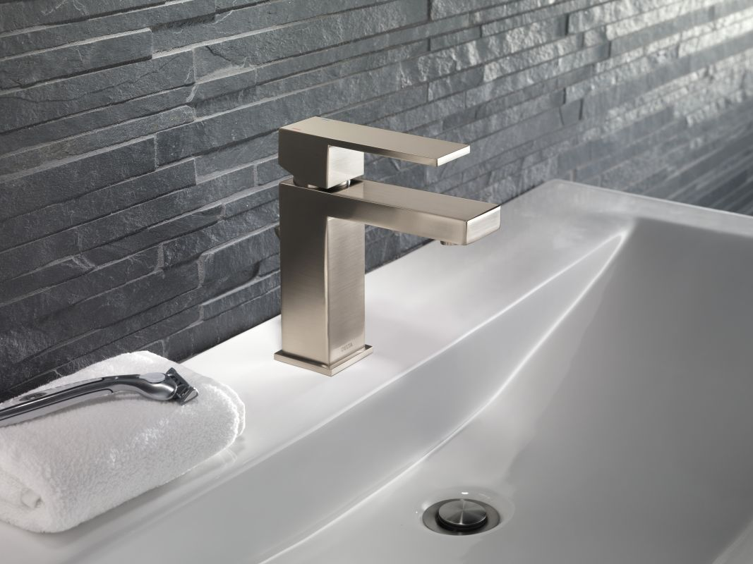Delta 567LF SSPP Stainless Angular Modern Single Hole Bathroom Faucet With  Pop Up Drain Assembly   Includes Lifetime Warranty   Faucet.com