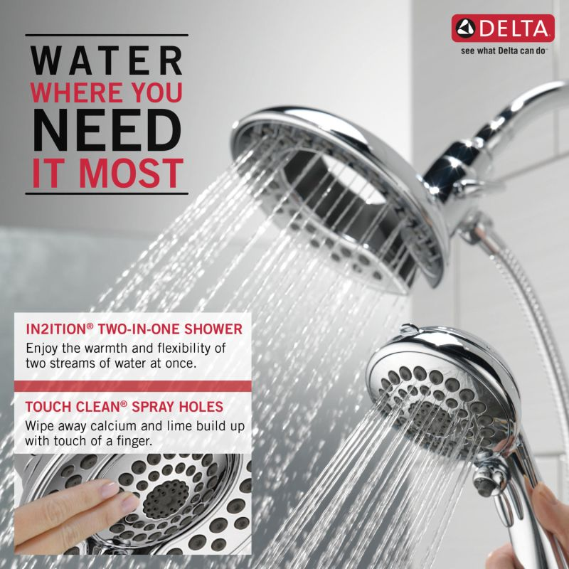 Delta 58045 Chrome In2ition 2 In 1 Shower Head And Hand Shower With