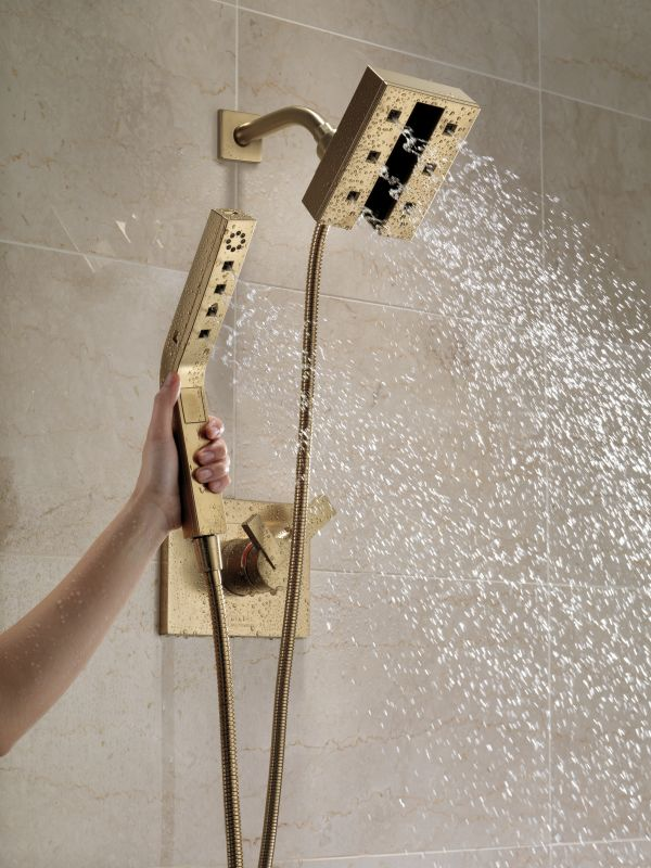delta 58470cz champagne bronze in2ition 2in1 h2okinetic shower head and hand shower with magnetic docking and 4 spray settings