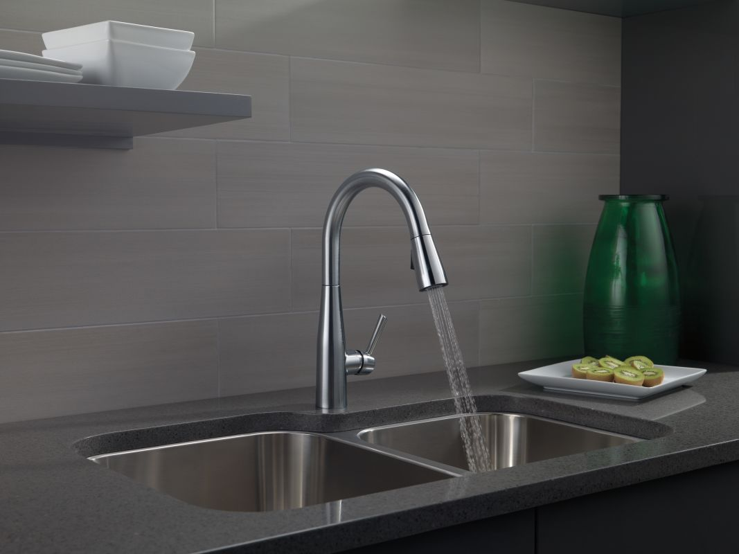 Delta 9113-DST Chrome Essa Pull-Down Kitchen Faucet with Magnetic ...
