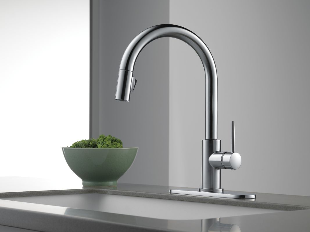 Delta 9159 Ar Dst Arctic Stainless Trinsic Pull Down Kitchen Faucet With Magnetic Docking Spray Head Includes Lifetime Warranty