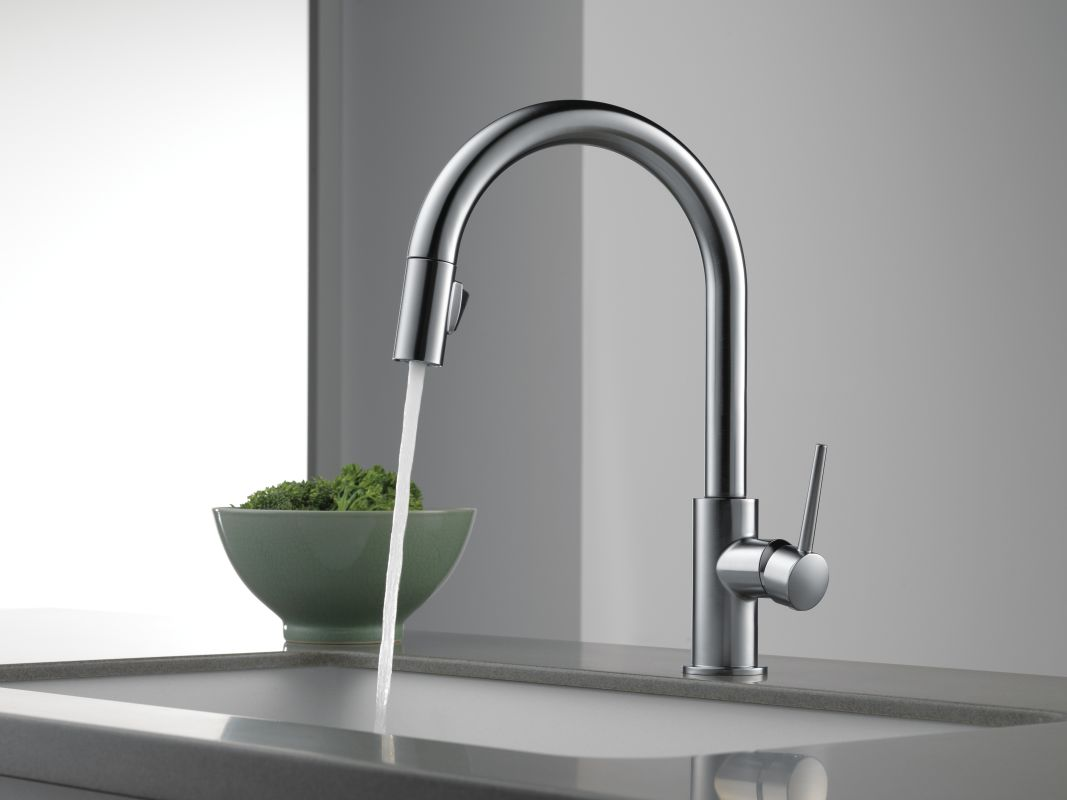 Delta Kitchen Faucets.Delta 9159 Dst Chrome Trinsic Pull Down Kitchen Faucet With