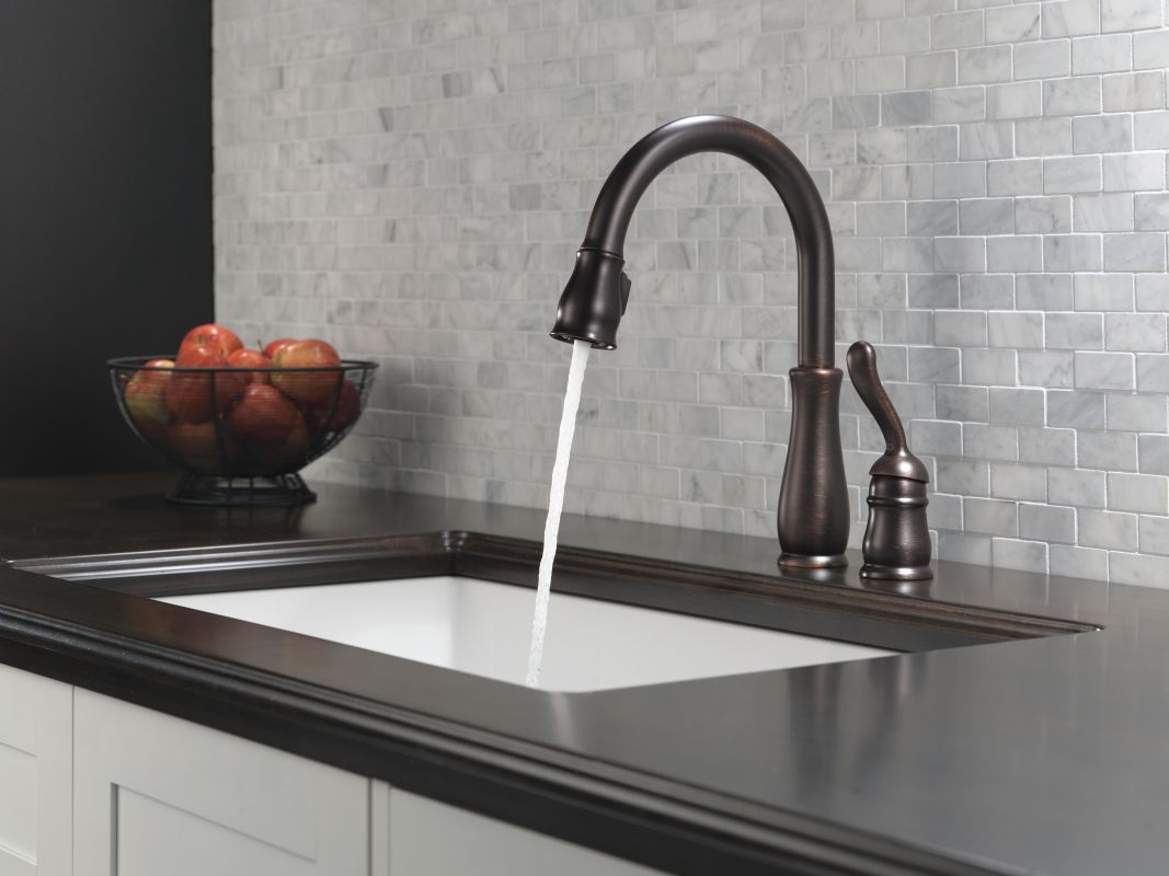Delta 978-AR-DST Arctic Stainless Leland Pull-Down Kitchen Faucet ...