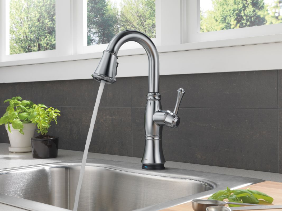 Delta TARDST Arctic Stainless Cassidy PullDown Bar Faucet - Delta touchless kitchen faucet