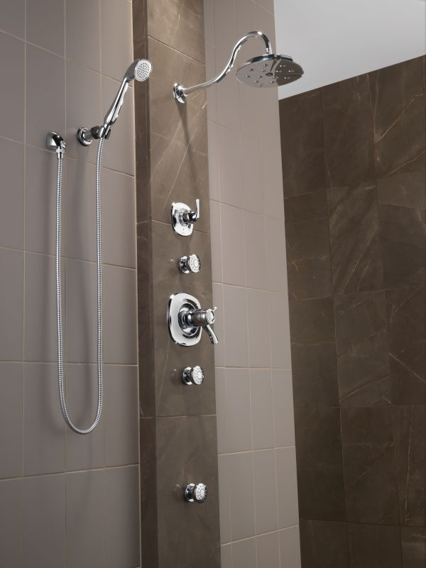 Delta Addison Tempure Shower Package Ch Chrome With Head Diverter Trim Slide Bar Hand 2 Body Sprays And Wall Supply Faucet