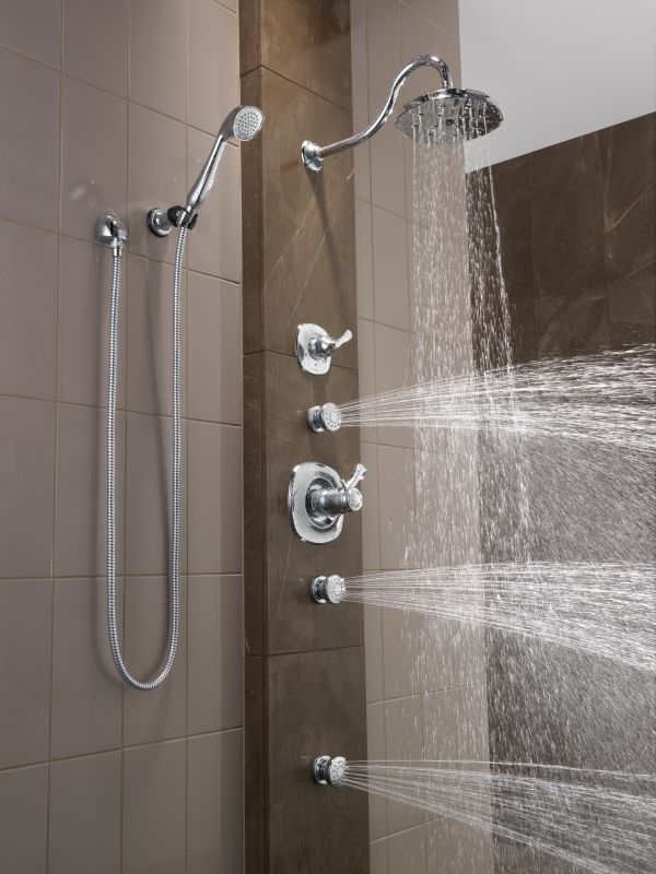 Superieur Delta Addison TempAssure Shower Package CH Chrome With Shower Head,  Diverter Trim, Slide Bar Hand Shower, 2 Body Sprays, And Wall Supply    Faucet.com