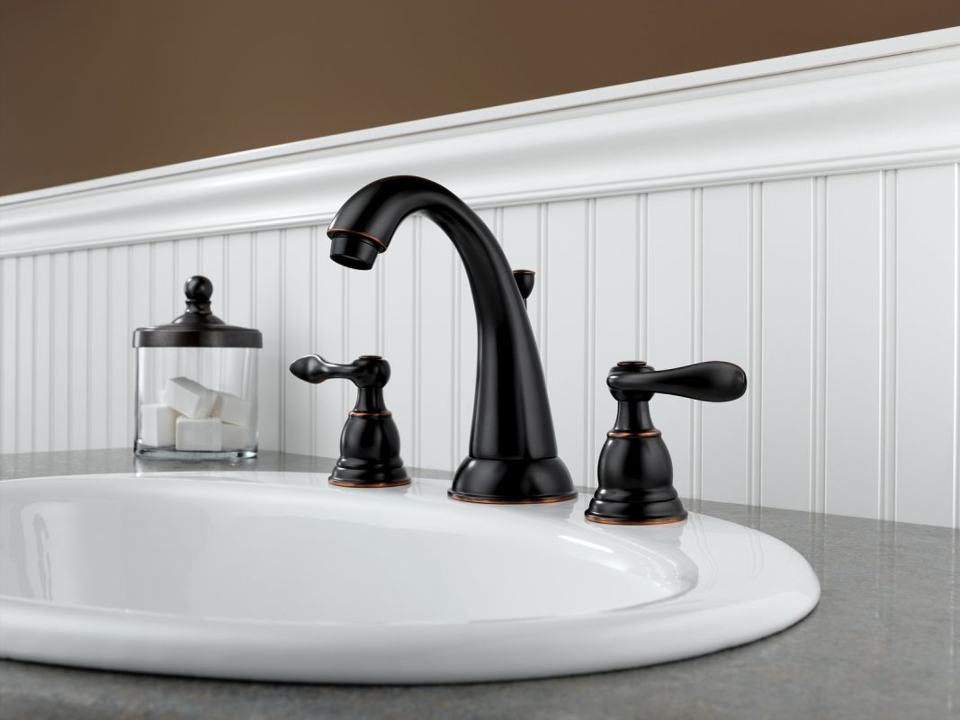 Delta B3596LF-OB Oil Rubbed Bronze Windemere Widespread Bathroom Faucet with Pop-Up Drain Assembly - Includes Lifetime Warranty - FaucetDirect.com