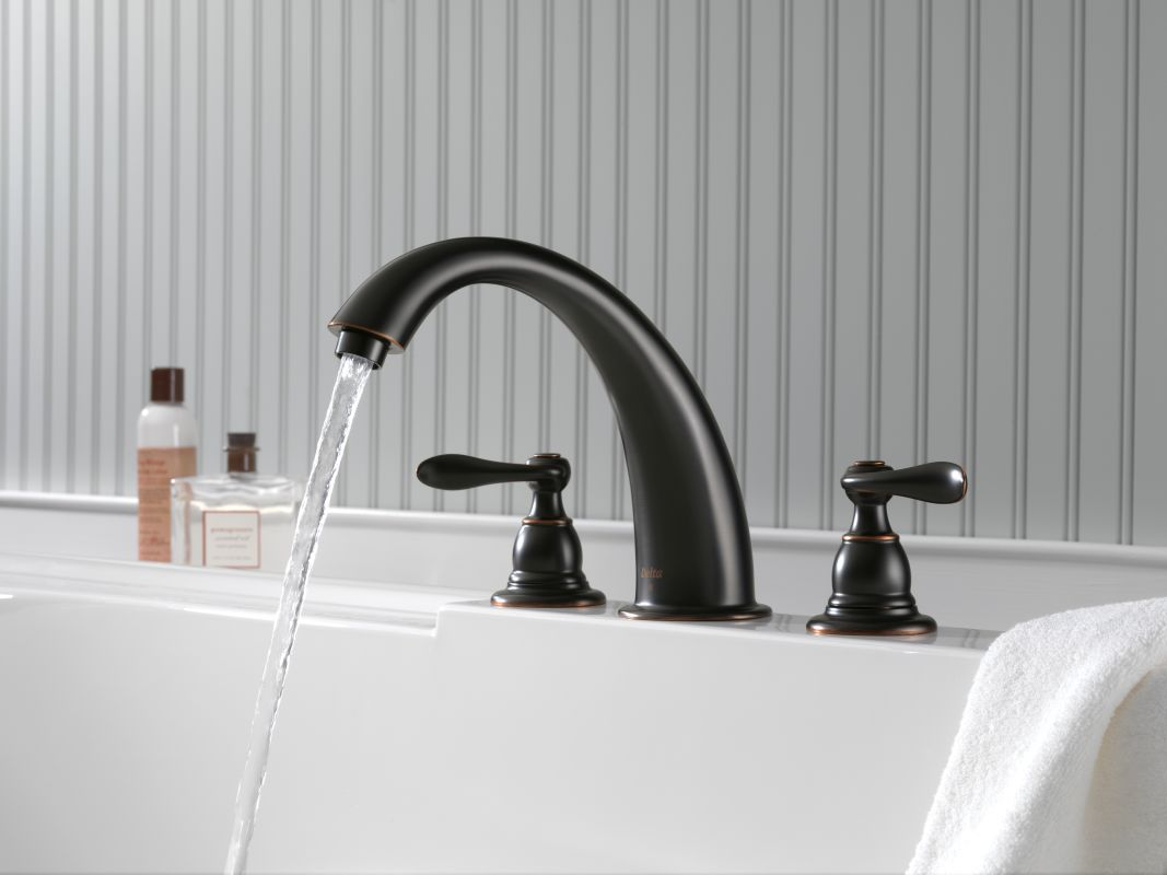 Delta BT2796-OB Oil Rubbed Bronze Windemere Roman Tub Faucet Trim ...