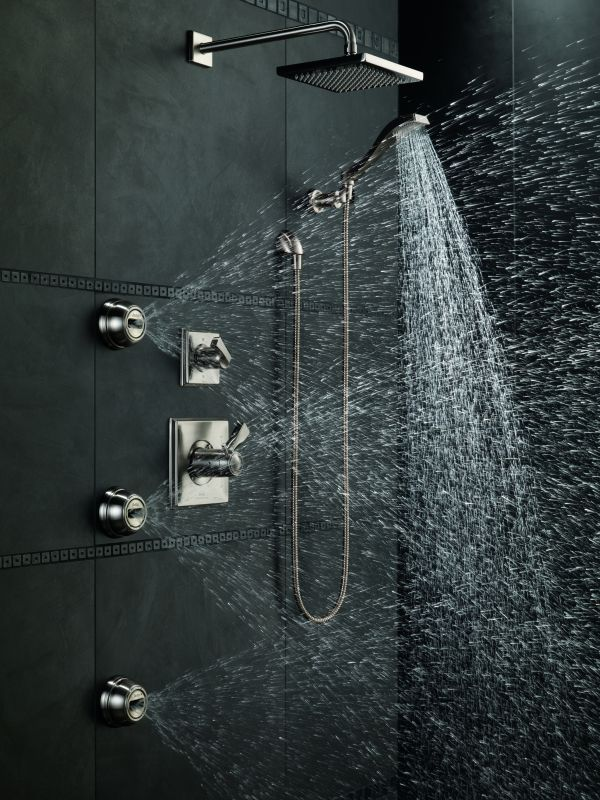 Delta Dryden TempAssure Shower Package SS Brilliance Stainless With  Thermostatic Trim, Diverter Trim And 3 Body Sprays   Faucet.com