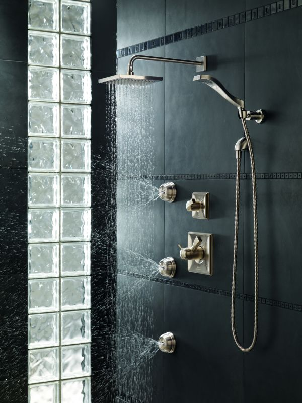Delta Dryden Tempassure Shower Package Ss Brilliance Stainless With Thermostatic Trim Diverter And 3 Sprays Faucet Com