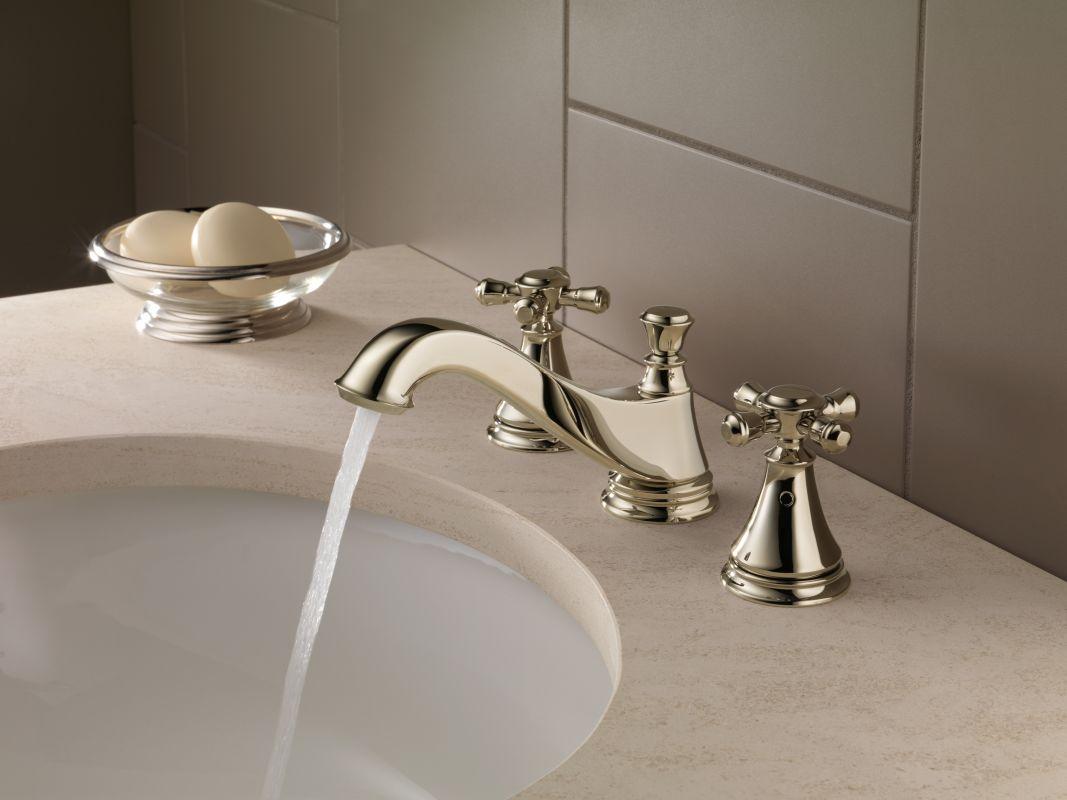 delta h295 chrome cassidy set of two cross handles for bath faucet or bidet faucetcom - Delta Cassidy Bathroom Faucet