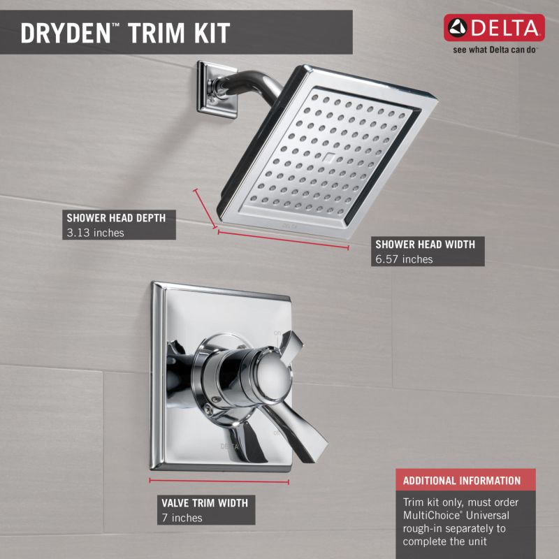 Delta T17251 PN Brilliance Polished Nickel Dryden 2.5 GPM Single Function  Shower Head And Trim Package With Touch Clean Technology   Faucet.com