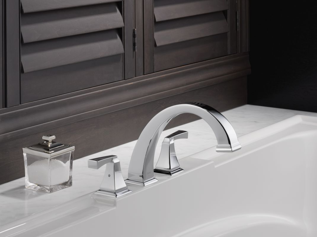 Delta T2751 Pn Brilliance Polished Nickel Dryden Deck Mounted Roman Tub Filler Trim With Lever Handles Faucet