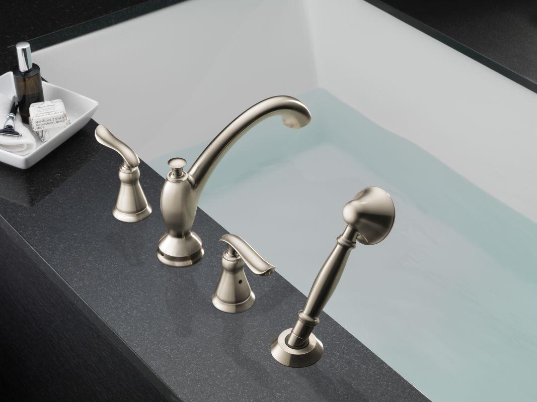 Delta T4794 Chrome Linden Roman Tub Faucet Trim with Hand Shower ...