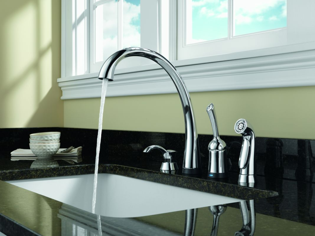 Delta 4380-SD-DST Chrome Pilar Kitchen Faucet with Side Spray and ...