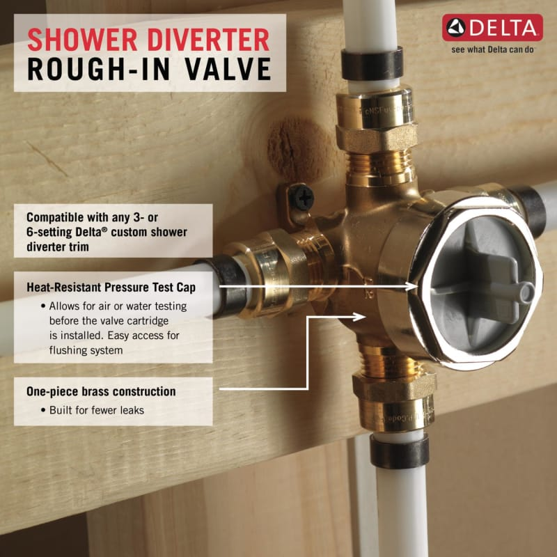 Delta R11000 N/A Universal Diverter Rough In Valve   For Use With All Delta  3 Or 6 Function Diverter Trims   Faucet.com