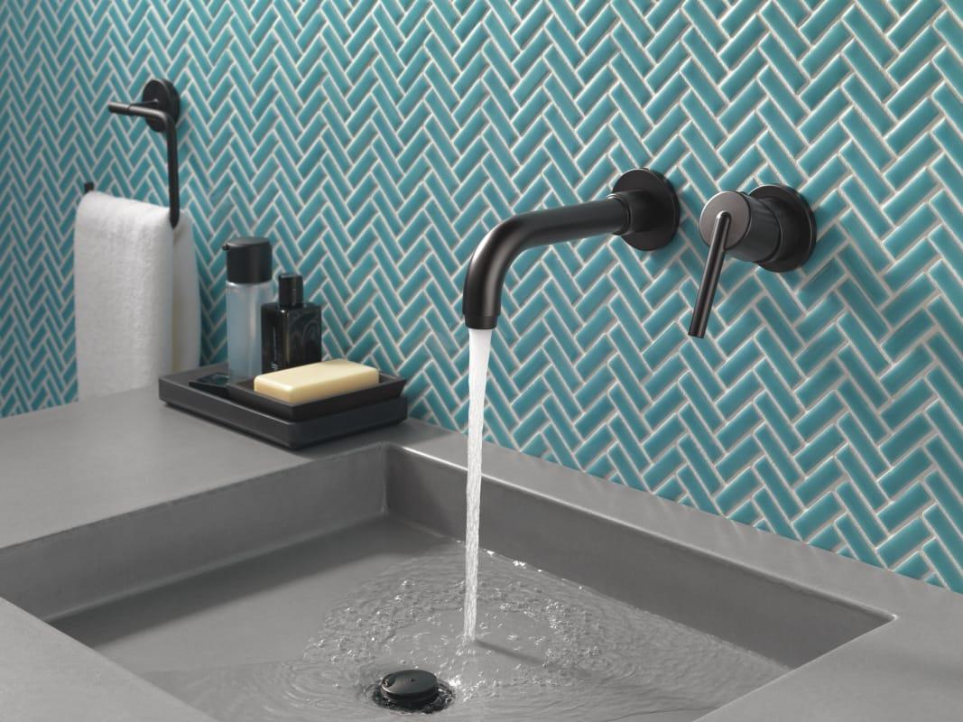 Delta T3559LF-WL Chrome Trinsic 1.2 GPM Wall Mounted Bathroom Faucet ...