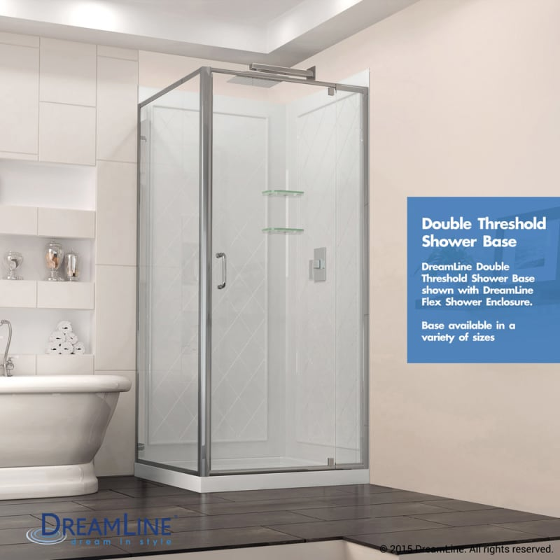 corner dreamline floor actual menards acrylic doors square biscuit flex shower piece tub smartsower kit chrome club kits