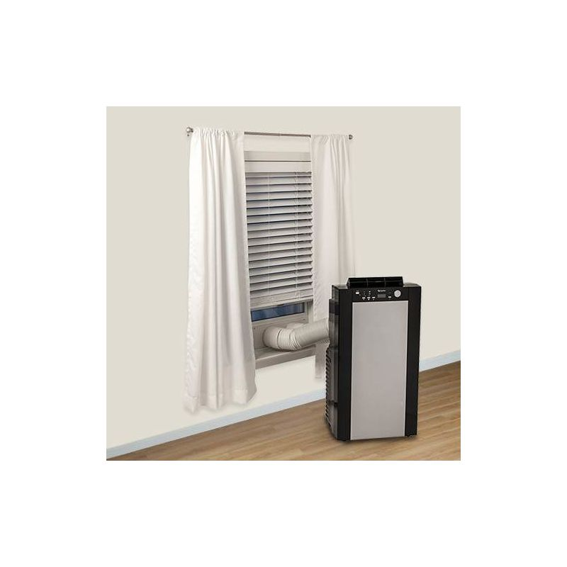 Large Room 115V Portable Dual Hose Air Conditioner With 14,000 BTU Heater,  Window Mounting Kit And Remote