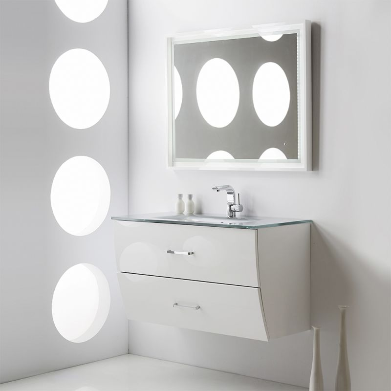 Fresca Fpvn7640bl Glossy Black 40 Wall Mounted Modern Wave Bathroom Vanity With Mdf Wood Cabinet White Gl Top 1 Drop In Sink And Single