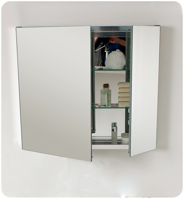 """Fresca FMC8090 Mirror 30"""" Double Door Frameless Medicine Cabinet with Two Glass Shelves and Recessed Mounting Option - Faucet.com"""