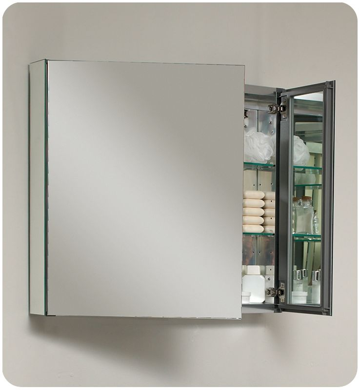 Fresca FMC8090 Mirror 30 Double Door Frameless Medicine Cabinet With Two Glass Shelves And Recessed Mounting Option