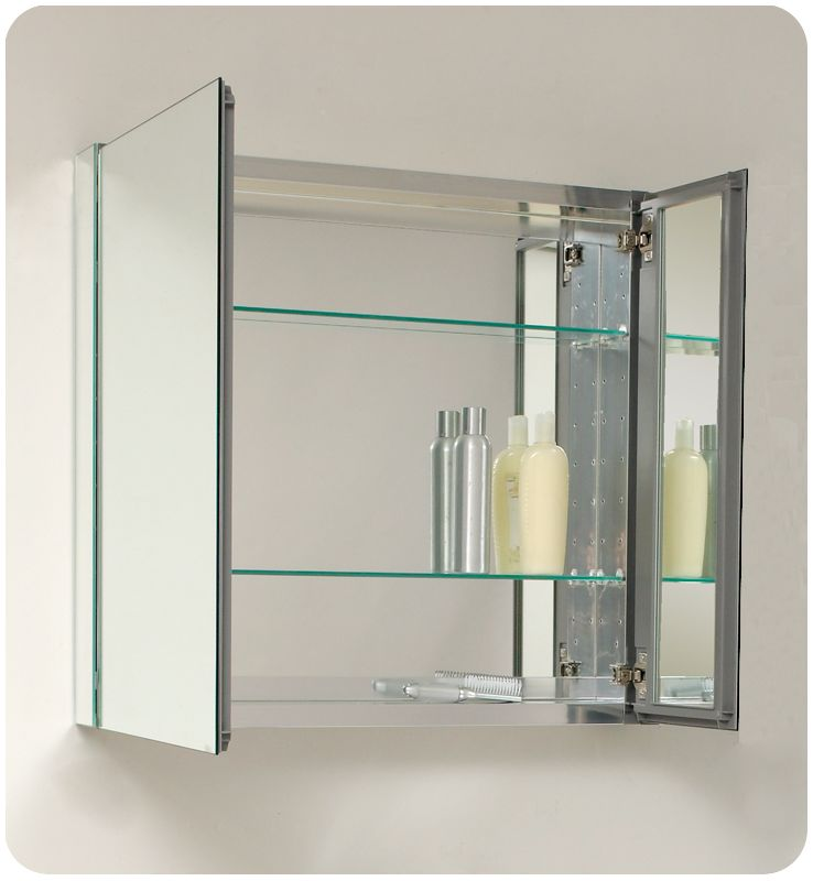 Fresca Fmc8090 Mirror 30 Double Door Frameless Medicine Cabinet With Two Gl Shelves And Recessed Mounting Option Faucet