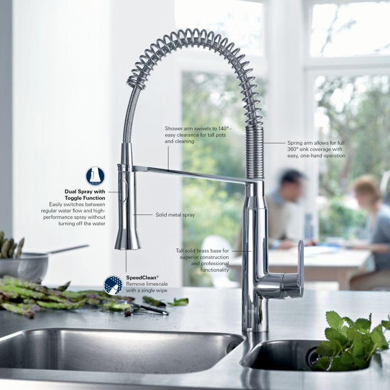 Grohe 31380000 Starlight Chrome K7 Pre Rinse Kitchen Faucet With 2 Function  Toggle Sprayer   Faucet.com