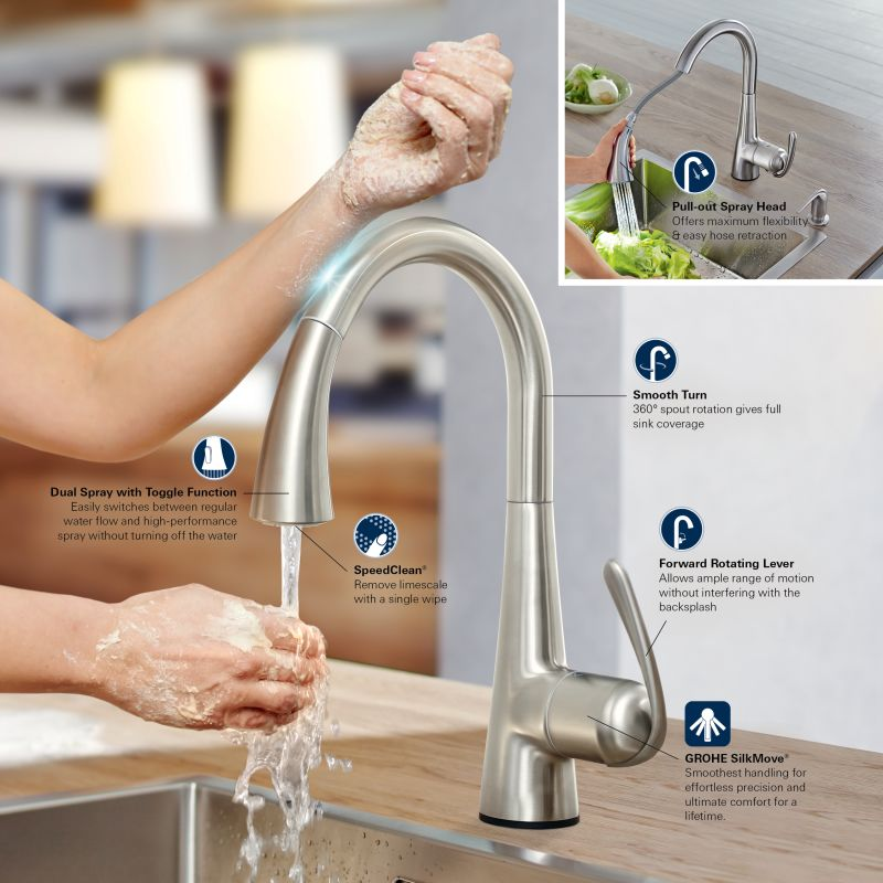 Grohe 32298001 Starlight Chrome Ladylux Pull-Down High-Arc Kitchen ...