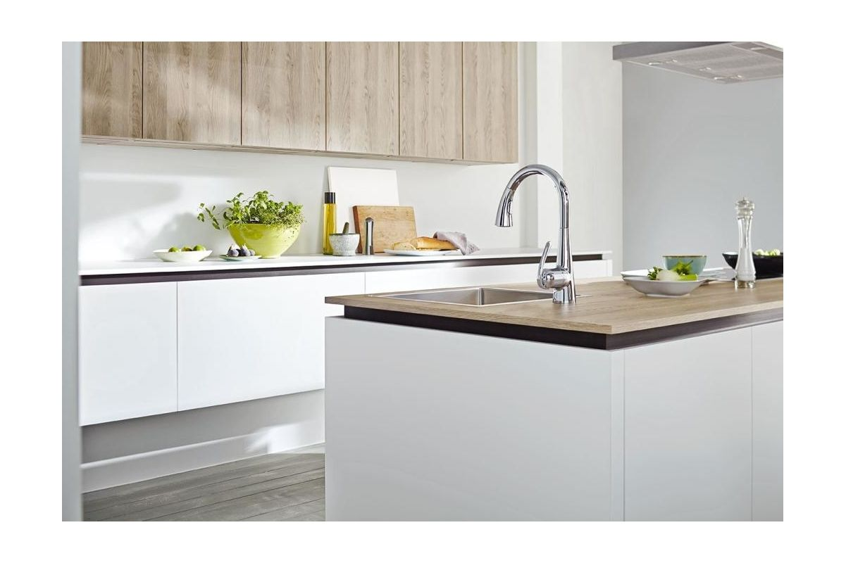 Grohe 32298SD1 Stainless Steel Ladylux Pull Down High Arc Kitchen Faucet  With 2 Function Locking Sprayer   Faucet.com