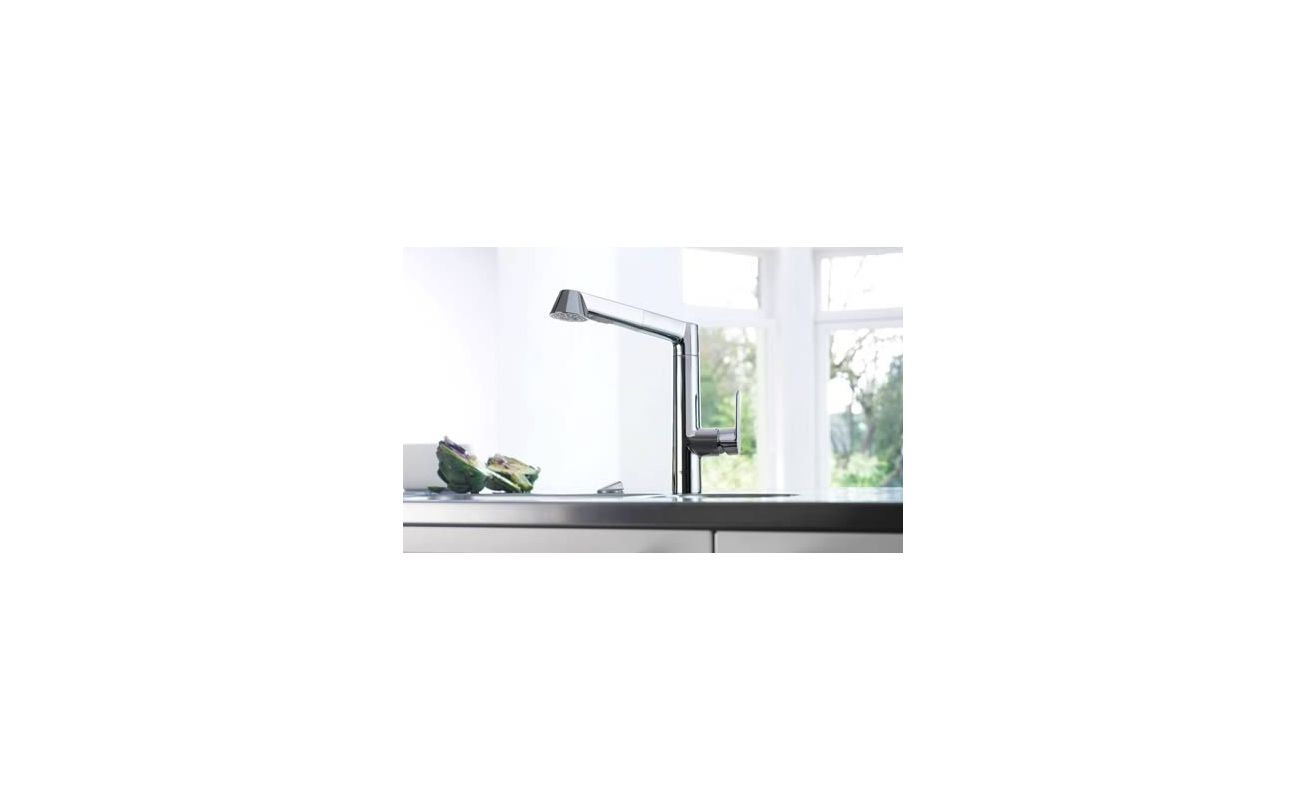Grohe 32178000 Starlight Chrome K7 Pull-Out Kitchen Faucet with 2 ...