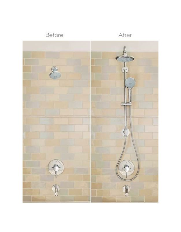 grohe starlight chrome retrofit 190 shower system upgrade your existing shower to a rain shower head and hand shower