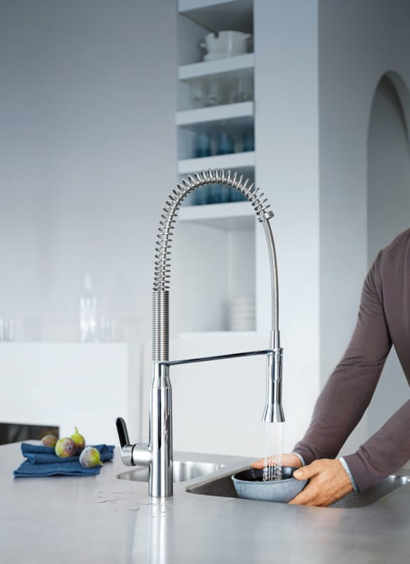Grohe 31380000 Starlight Chrome K7 Pre-Rinse Kitchen Faucet with 2 ...