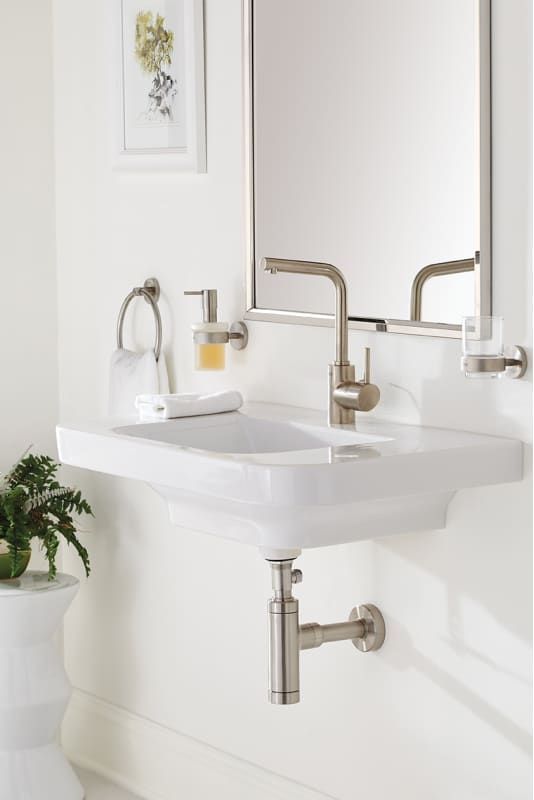 Grohe 32137EN0 Brushed Nickel Essence Single Hole Bathroom Faucet With  SilkMove Technology   Free Metal Pop Up Drain Assembly With Purchase    Faucet.com