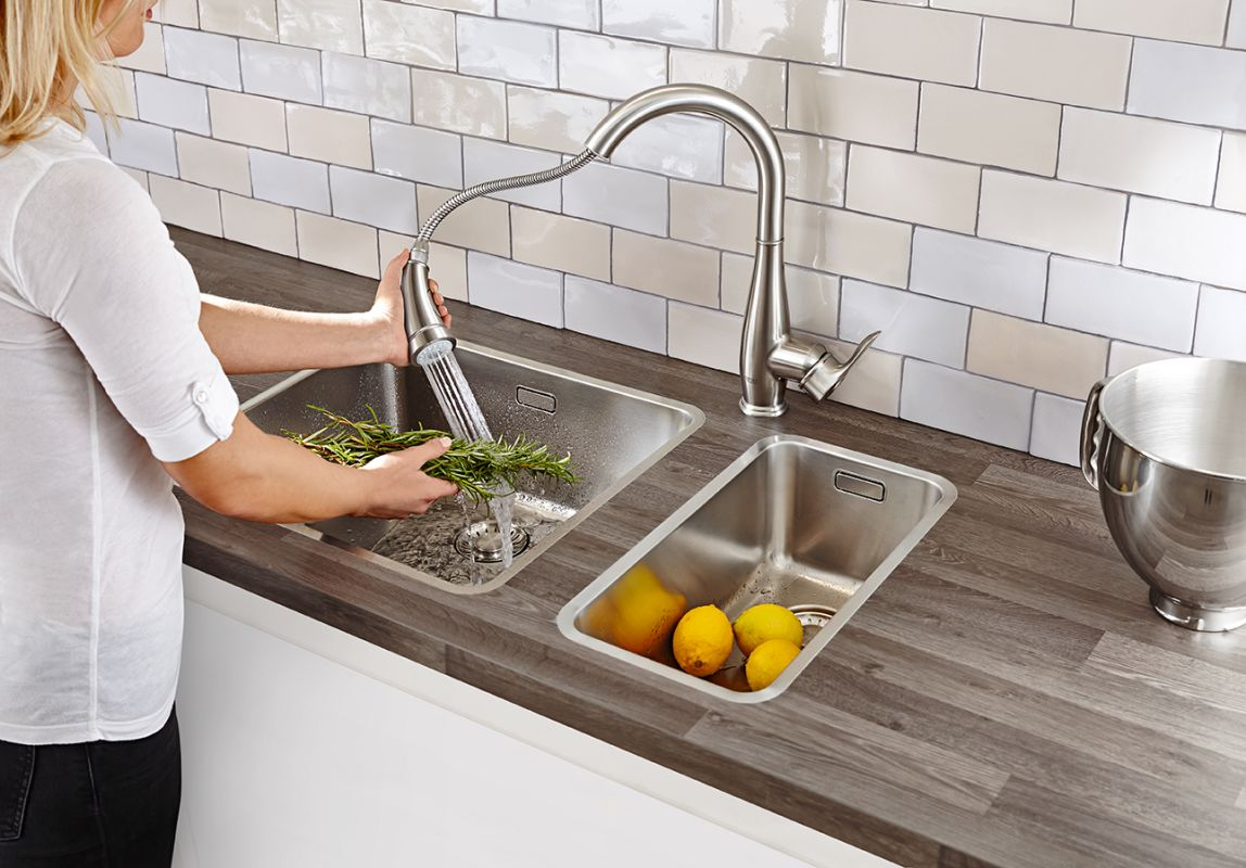 Grohe 30213DC0 Supersteel Parkfield Pull Down High Arc Kitchen Faucet With  2 Function Locking Sprayer   FaucetDirect.com